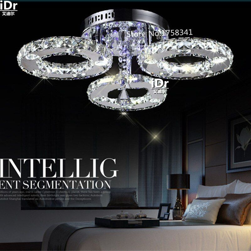 Modern stainless steel crystal lustre Chandeliers brief living room lamps led k9 crystal circle Chandeliers lighting fixture