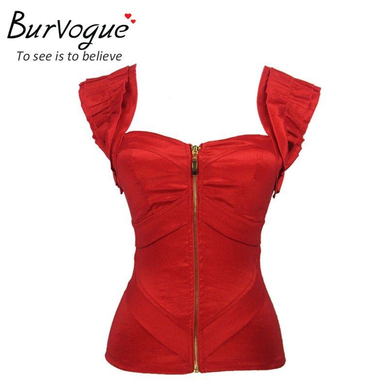 Burvogue mode femmes push up d'été débardeurs rouge satin corset top zipper bustiers avec bretelles de bal top overbust corset s-2XL