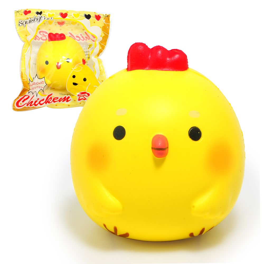 3.9 Kawaii Jumbo Chicken Baby Squishy Soft Doll Squeeze Toy Collectibles Cartoon Scented Super Slow Rising Phone Strap