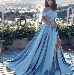 Himmel Blau Muslimischen Abendkleider 2019 A-linie Cap Sleeves Slit Sexy Formelle Islamischen Dubai Kaftan Saudi Arabisch Lange Abendkleid