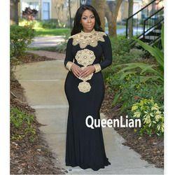 Envío libre Diseño de Moda Africana collar Hight Bordado señora tradicional Maxi Telas dashiki vestido Africano para las mujeres