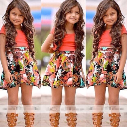 2018 Baby Kids Girls Dress Tops Shirt+Skirt Flower 2-Pieces Outfits Set 2-8Y