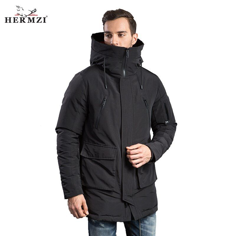 HERMZI 2018 Winter Men Down Jacket Fashion Mens Winter Down Coat Parkas 80%White Duck Down European Size Black Free Shipping