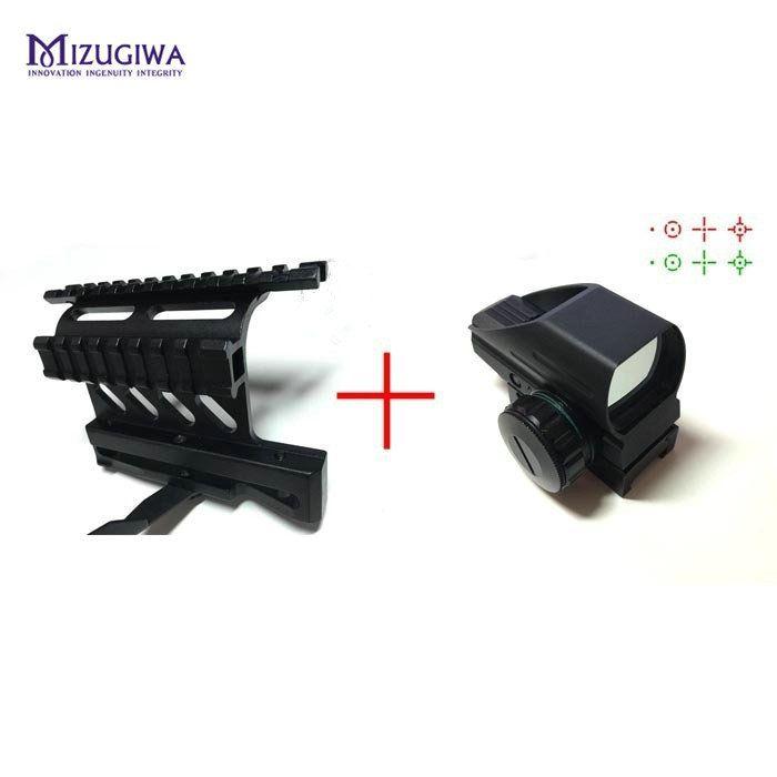MIZUGIWA Grün Red Dot Sight Reflex Scope 20mm Jagd Tactical AK Holographic 1x22x33 Reflex + AK Seitenmontage Schnell QD stil