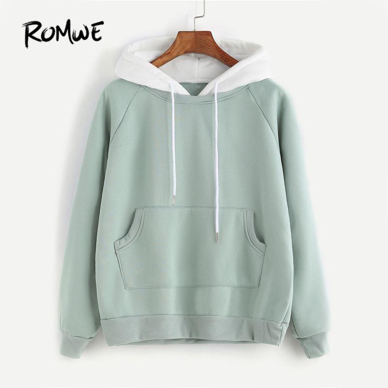 ROMWE Pale Green Patchwork Hoodie Women Raglan Long Sleeve Cute Contrast Hooded Sweatshirt 2018 Fall Pocket Drawstring Hoodies