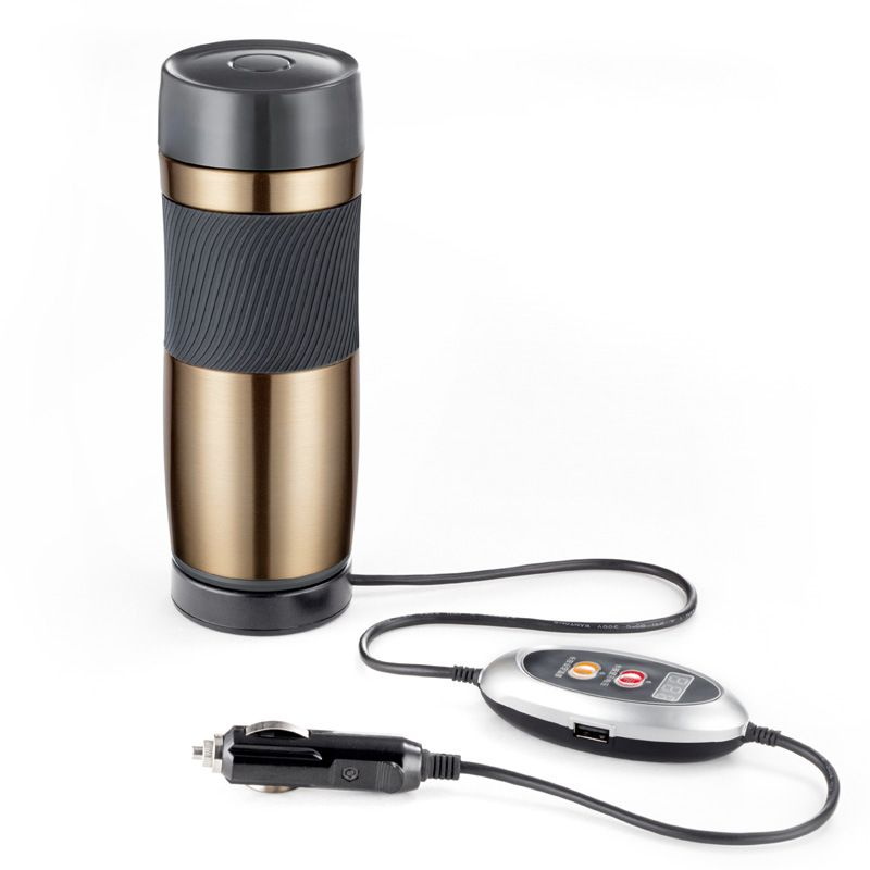 Stainless Steel Car 12/24 Volt Interchangeable Electric Heat Insulation Cup Portable Travel Coffee Mug Automatic Power Off