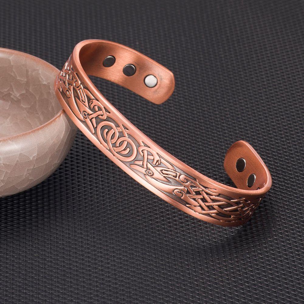 Vinterly Pure Copper Bracelet Men Energy Magnetic Adjustable Cuff Bracelet Femme Vintage Viking Wide Bracelets Bangles For Women