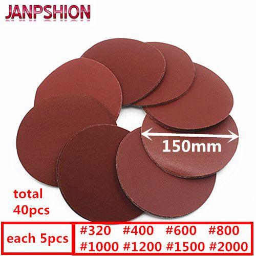 JANPSHION 40 pc Brossé retour papier de verre pour Ponceuse rouge rond Ponçage papier 6