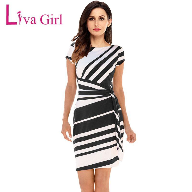 Liva Girl Women 2018 Autumn Casual Pencil Dress Party Red/Black/Navy White Striped Dresses Belted Bow <font><b>Elegant</b></font> Office Work Dress