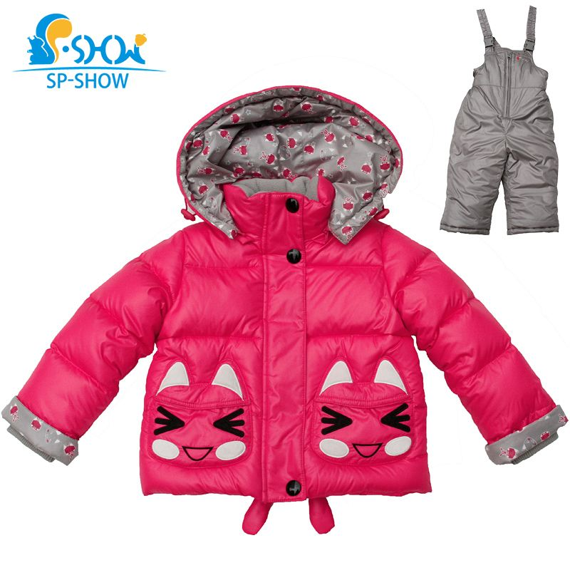 2018 SP-SHOW Children Winter Outwear Hooded Coat Russian Luxury 1-2 Age Girl Two-Piece Suit Newborn Baby Girls Jackets Down 2632
