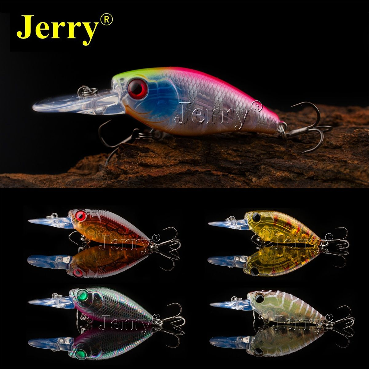 Jerry 4.5cm/1.8in 6g wobbler BKK pike perch Japan lure five colors slow sinking high quality deep plug hard crank bait