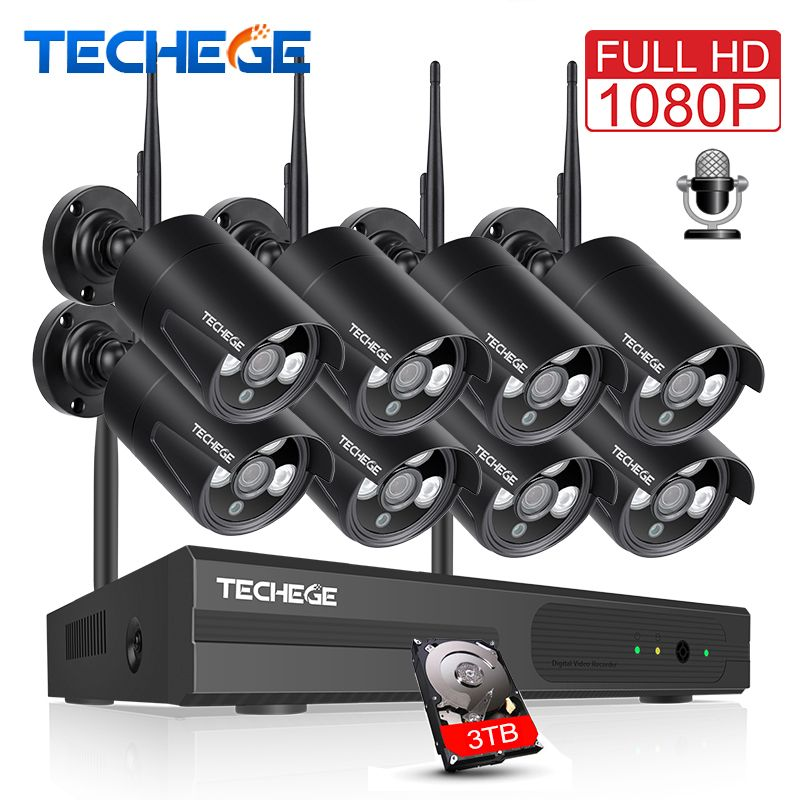 Techege 8CH 1080P WIFI NVR Audio CCTV Camera System 2MP Surveillance Security Camera Waterproof Wireless IP Camera Video Kit