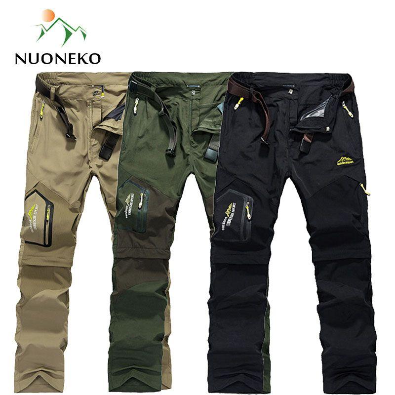 NUONEKO séchage rapide amovible randonnée pantalon extérieur 6XL hommes été respirant Shorts hommes montagne Camping Trekking pantalon PN09