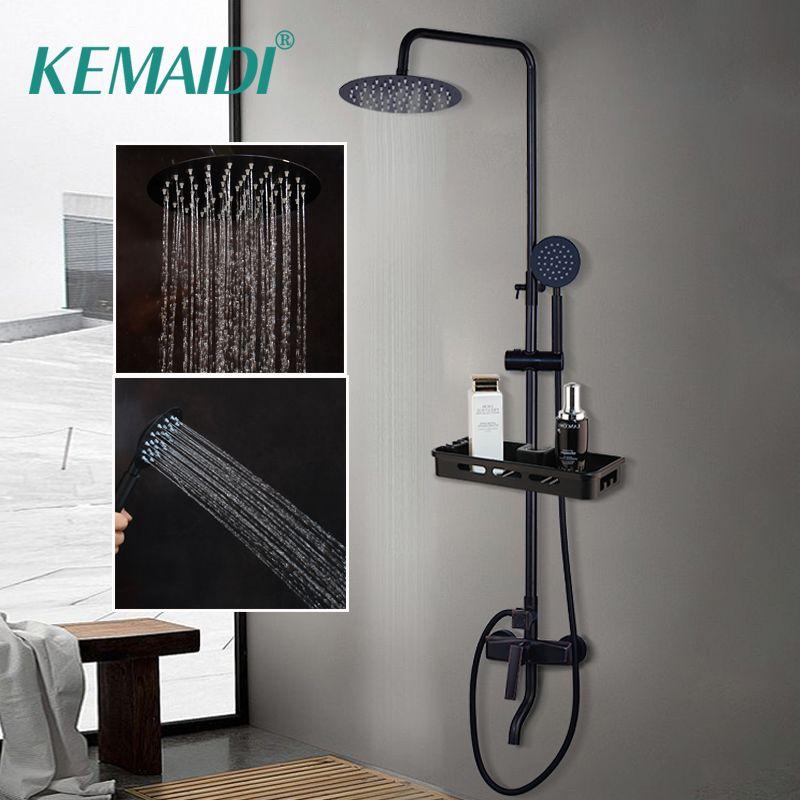 KEMAIDI robinet mitigeur de douche salle de bain noir robinets de douche à effet pluie ensemble mitigeur de douche mitigeur de baignoire avec étagère de rangement