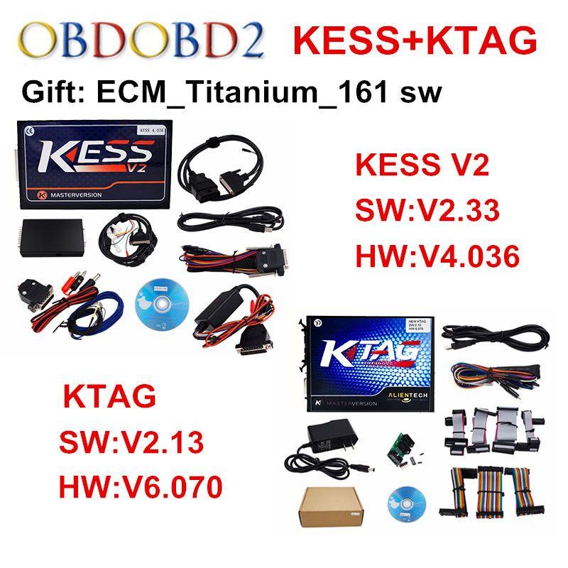 Full Set KTAG V2.13 ECU Programmer+KESS V2.33 V2 V4.036 / V5.017 Manager Tuning Kit K TAG No Tokens K-TAG V6.070 Master Version