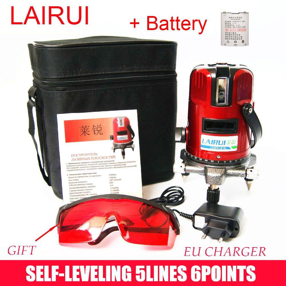 Lairui marque 5 lignes 6 points laser niveau 360 degrés rotatif croix laser ligne niveau avec le mode en plein air avec batteries