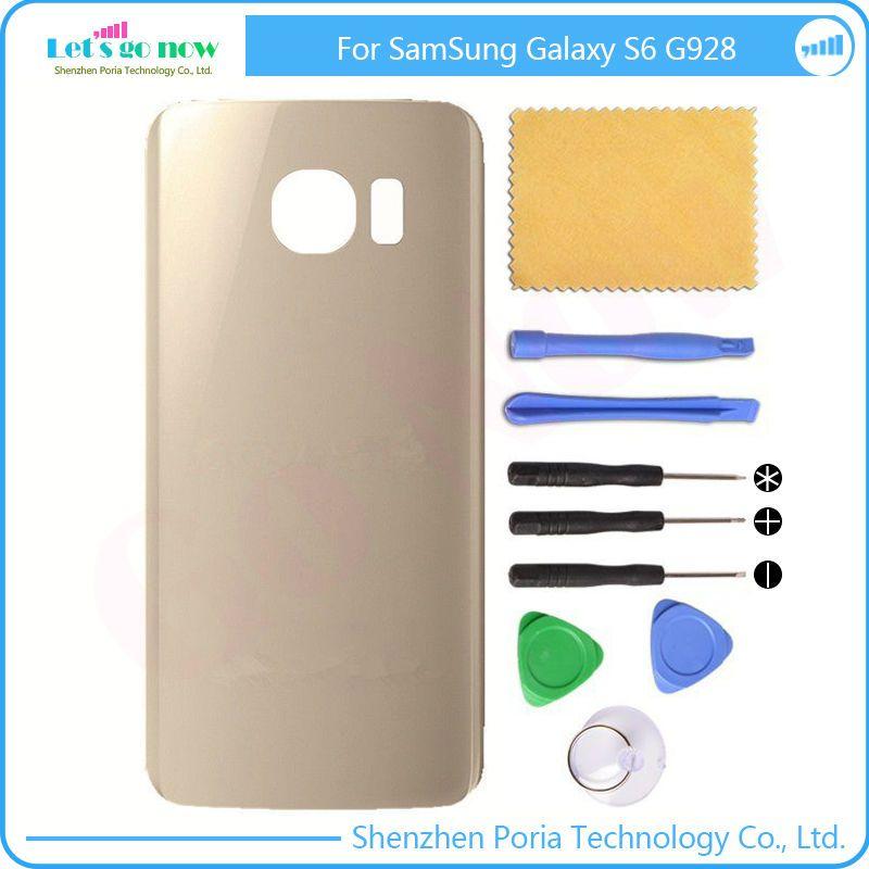 Nouveau Verre Couvercle de La Batterie Arrière Retour housingdoor + Adhésif Colle + Outils Gratuits Pour Samsung Galaxy S6 Bord Plus G928 SM-G928