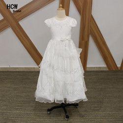 Dengan Harga Murah Putih Perjamuan Kudus Garis A Gaun Pendek Lengan Panjang Gadis Kecil Komuni Pertama Dress 2019 Junior Bunga Gadis Gaun