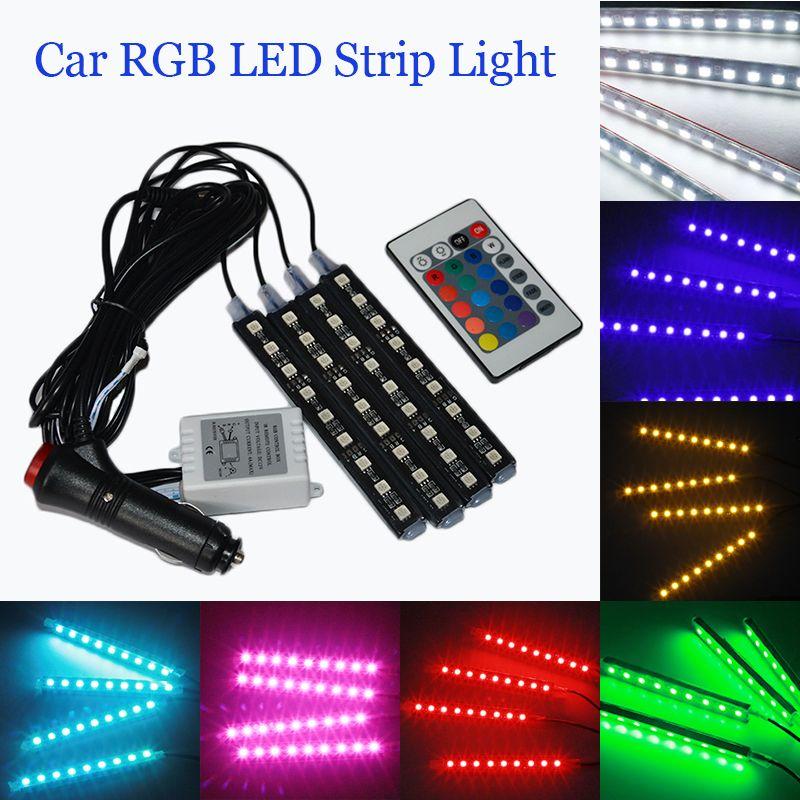 4 pcs LED Bande Lumières Coloré Voiture RGB LED Strip Light Car Styling Décoratif Atmosphère Lampes De Voiture Intérieur Lumière Avec à distance