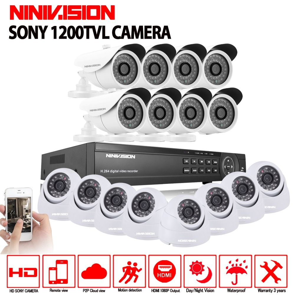 16CH AHD 1080N 1080P DVR CCTV Home Security Camera System 16PCS IR Indoor outdoor 1200TVL Video Surveillance night vision kit