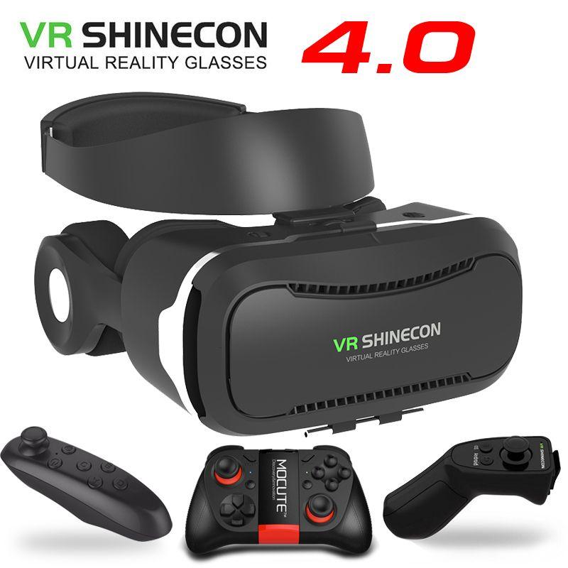 Vr shinecon 4.0 стерео виртуальной реальности смартфон 3D Очки гарнитура Google коробка + наушники/Управление кнопка для 3.5- 5.5