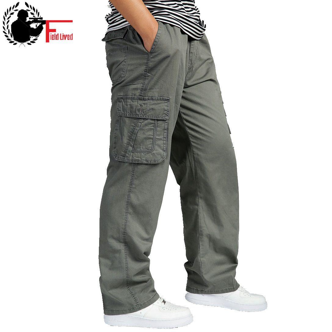 Été hommes grande taille vêtements 4XL 5XL 6XL Cargo pantalon grand grand hommes décontracté nombreuses poches lâche travail pantalon homme droit pantalon