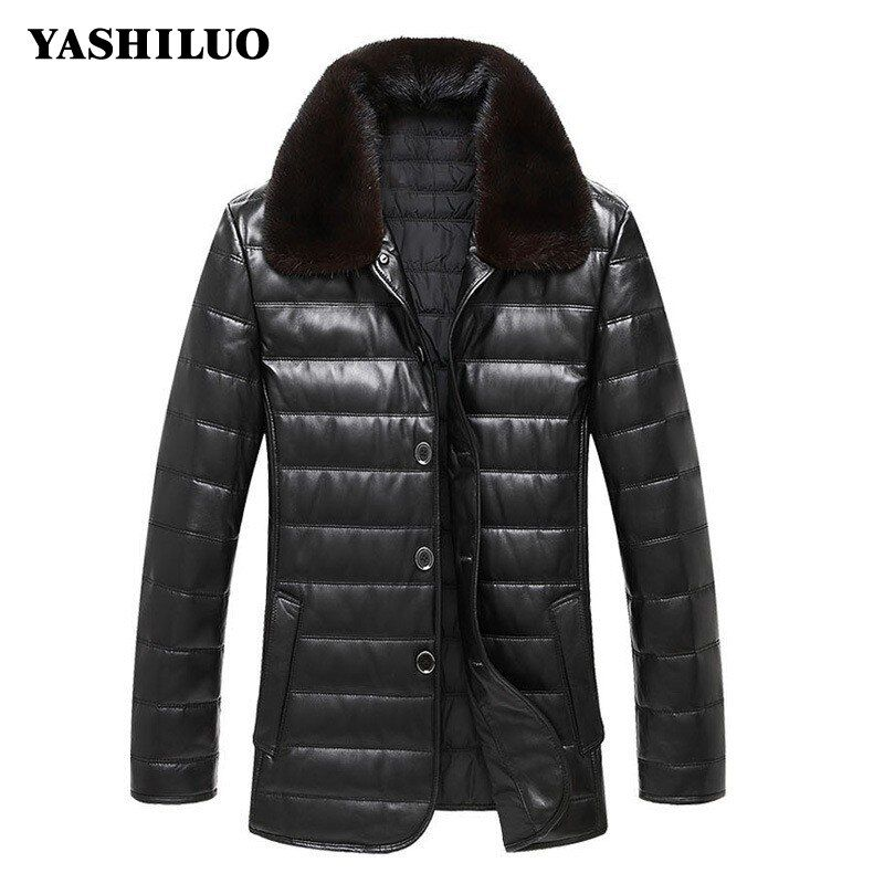 Winter Mens Warm Sheepskin Genuine Leather Jacket Turn Dowm Collar Biker Coat For Male Jaqueta De Couro Masculino Motoqueiro