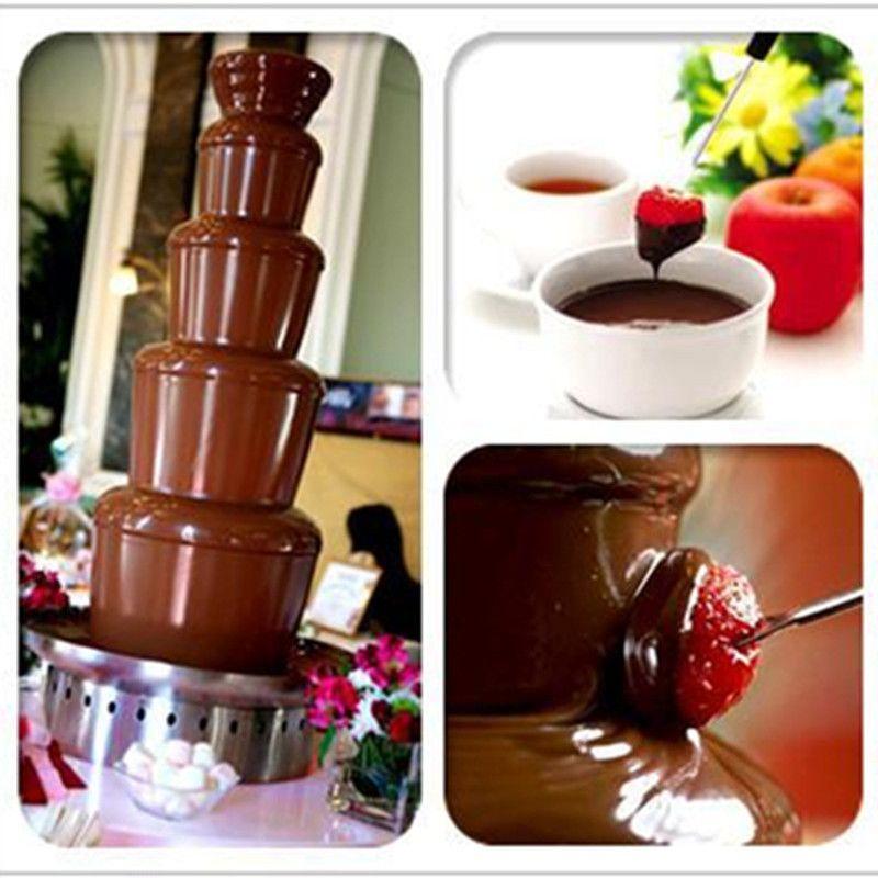High quality stainless steel chocolate fountain machine self melt 5 tiers wedding christmas chocolate waterfall fondue machine