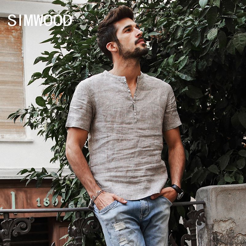 SIMWOOD 2018 Summer Shirts Men 100% Pure Linen Shorts Sleeve Striped Slim Fit Henry Collar Tops Brand Clothing CD017004