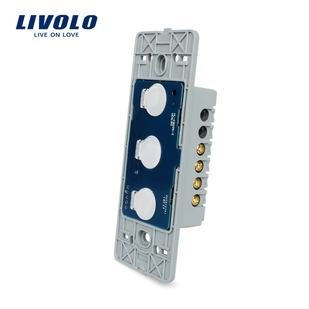 Livolo US Standard Base Of Wall Light Touch Screen Switch, AC 110~250V ,3Gang 1Way, Without glass panel,VL-C503