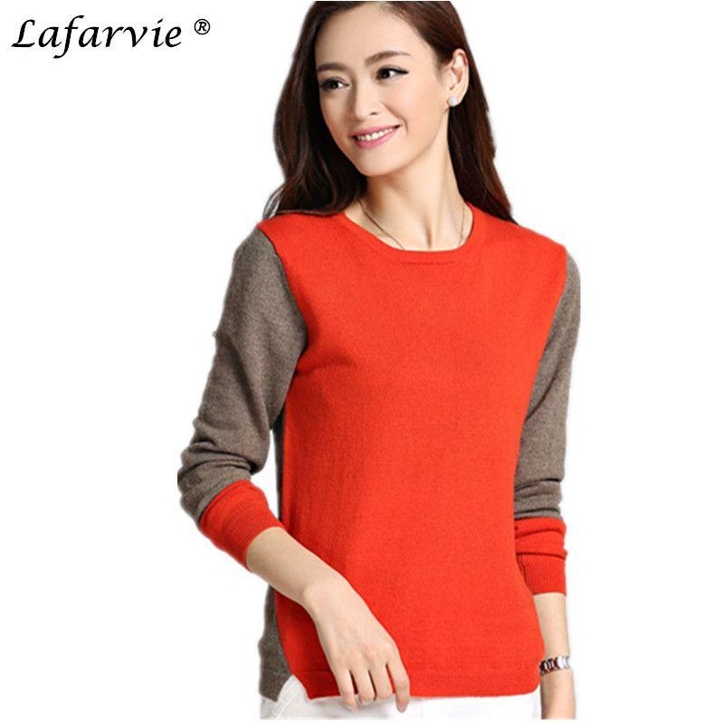 Lafarvie mode cachemire mélangé chandail tricoté femmes tops ordinateur tricoté pulls femme o-cou à manches longues patchwork pull