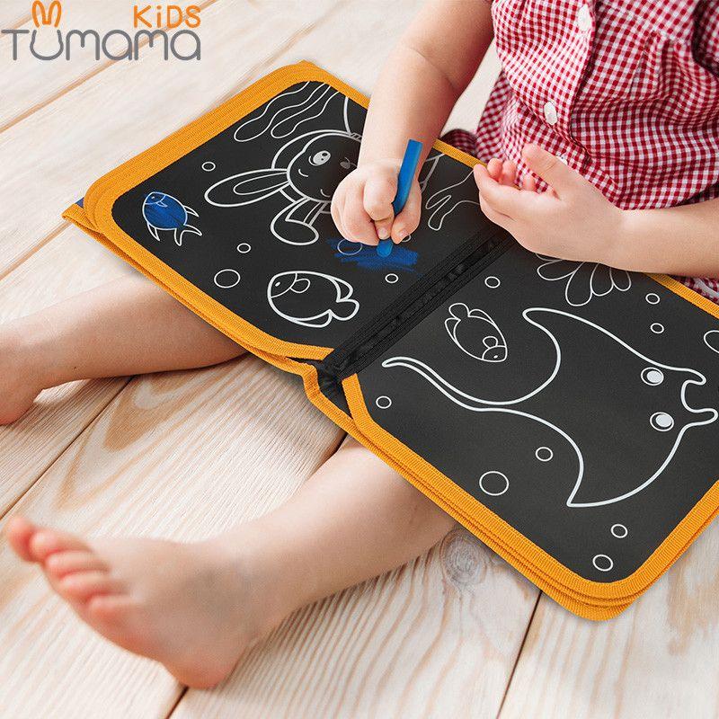Tumama Portable tableau de craie souple dessin livre Animal vie Marine coloriage livre bricolage tableau noir peinture planche à dessin avec craie