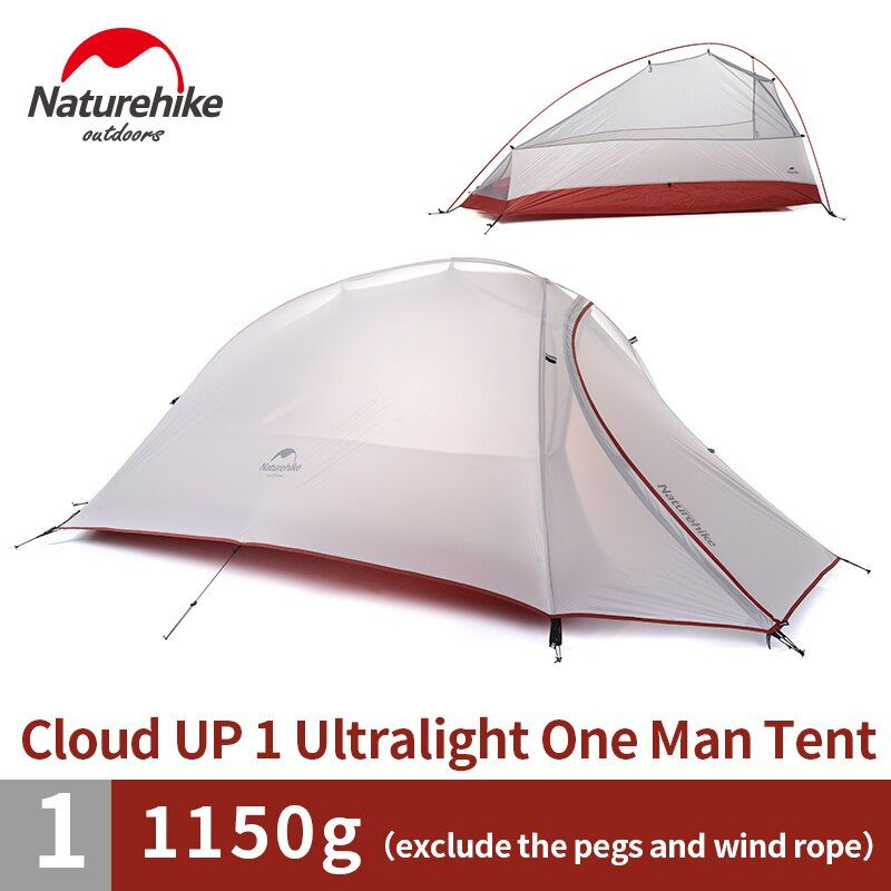Naturehike 1 Person Dome Tent Double-layer Outdoor Camping Ultralight 20D Silicone Tent NH15T001-T