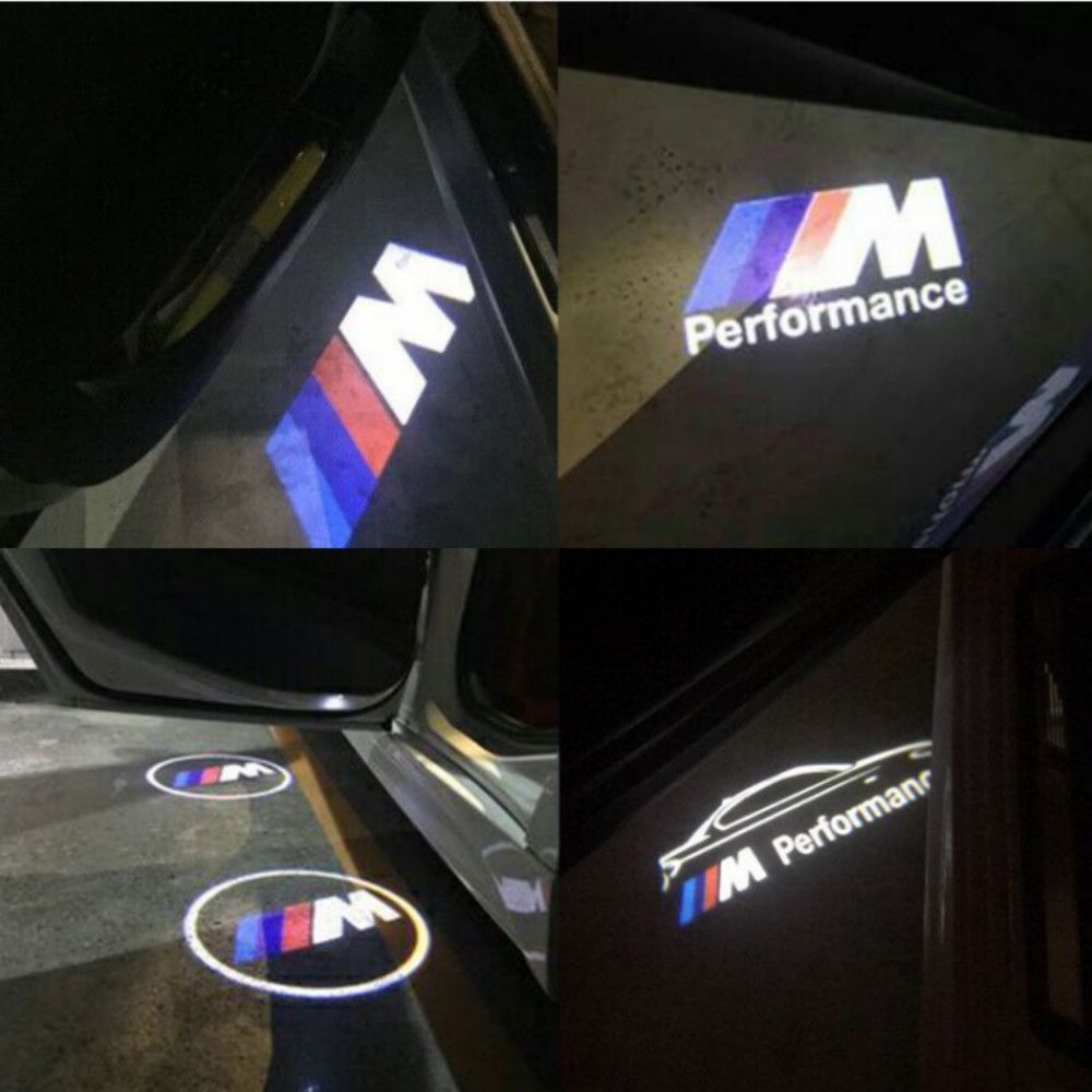 JURUS A pair For BMW light Car Door Welcome Logo emblem light 3 5 6 7 Series GT X5 X3 M3  M5 M Performance Logo car-styling