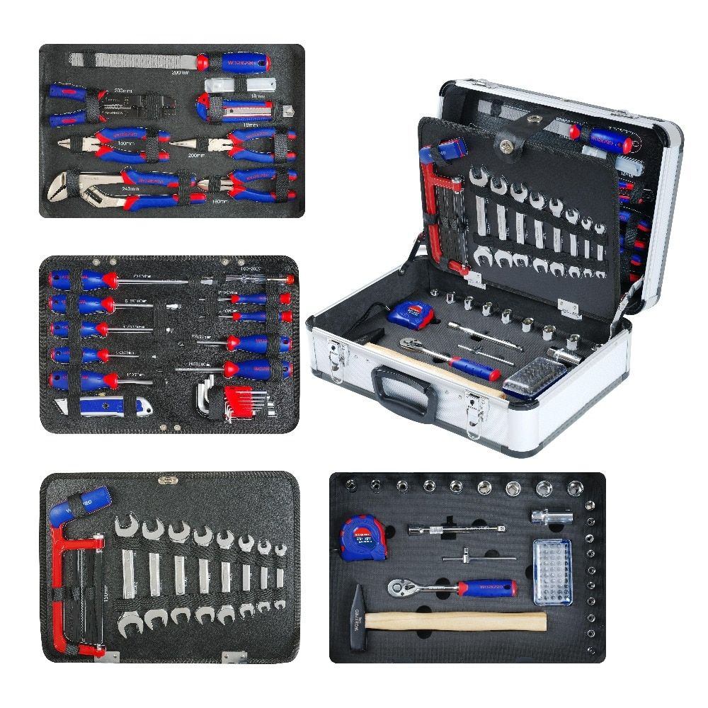 WORKPRO 119PC Aluminum Tool box Set <font><b>Household</b></font> Tool Set Hand Tools Screwdriver Set Wrenches Pliers
