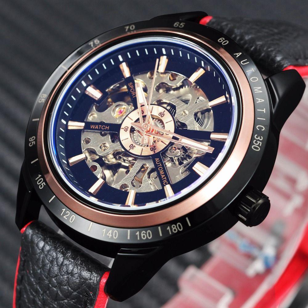 WINNER Motorcycle Design Transparent Genuine Red Black Belt Waterproof Skeleton Men Automatic Watches Top Brand Luxury Clcok