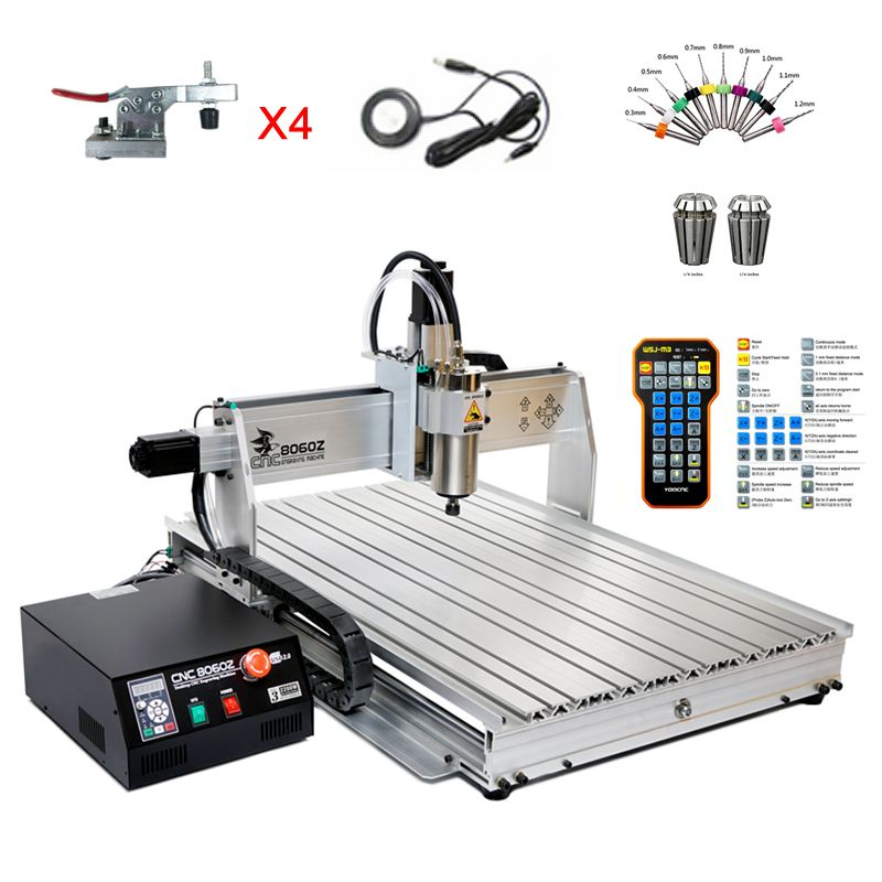 Free tax 8060 CNC engraver 2200W 4 axis wood router 1.5KW 3axis YOOCNC milling engraving machine For PVC ABS PCB Aluminum