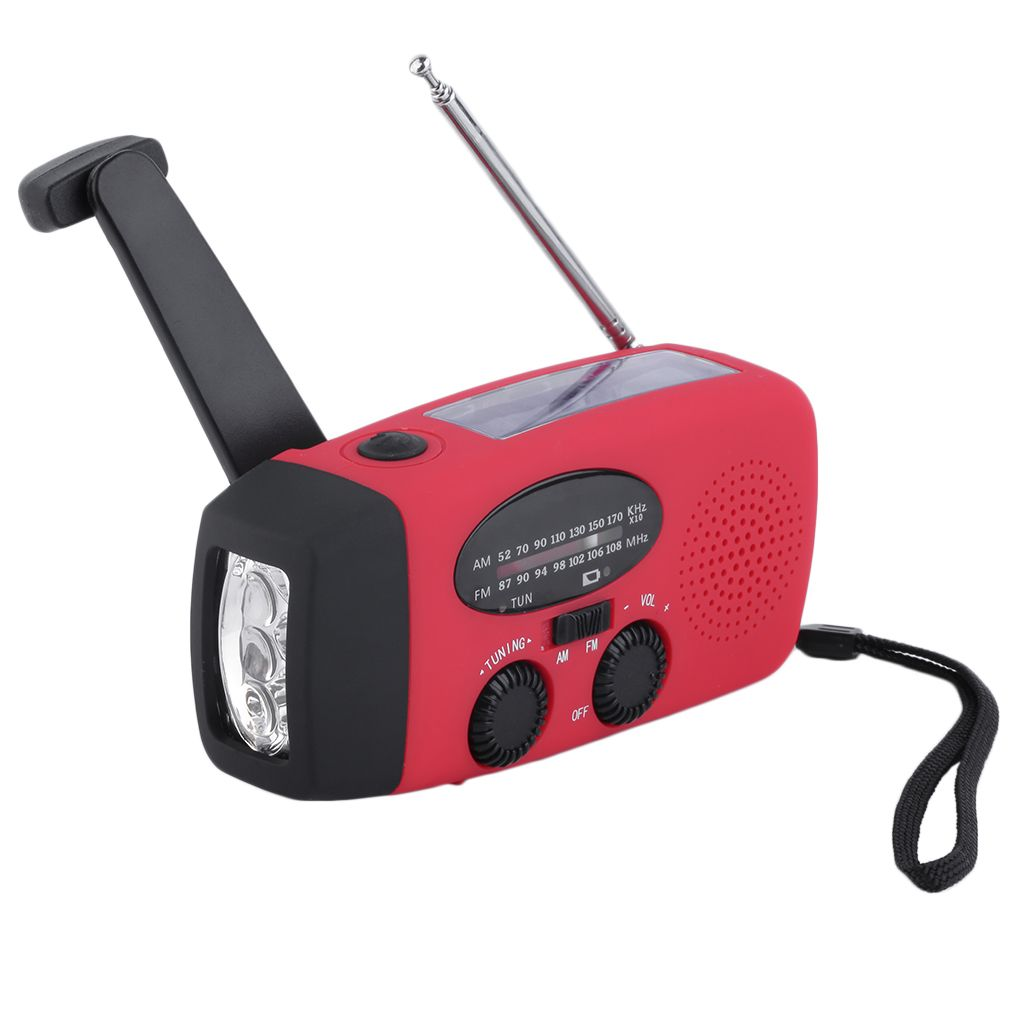 New Protable Solar Radio Hand Crank Self Powered Phone Charger 3 LED Flashlight AM/FM/WB Radio Waterproof Emergency Survival Red