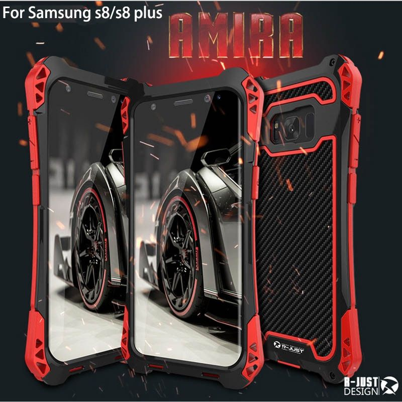 New R-Just Case For Galaxy S8 Waterproof Case For Samsung Galaxy S8 Plus S8+ Aluminum Waterproof Shockproof Carbon fiber Case