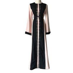 2017 Vintage Femmes Mince D'été Casual Robe Longue Abaya Manches Doux Robe Pour Caftan Islamique MuslimTurkish Arabe Appliques