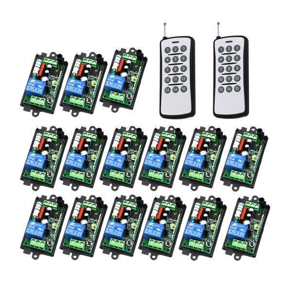 Wireless 1 Channel Remote Control Switch 220V RF Gate Garage Door 15pcs Receivers and 2pcs Transmitters 4298