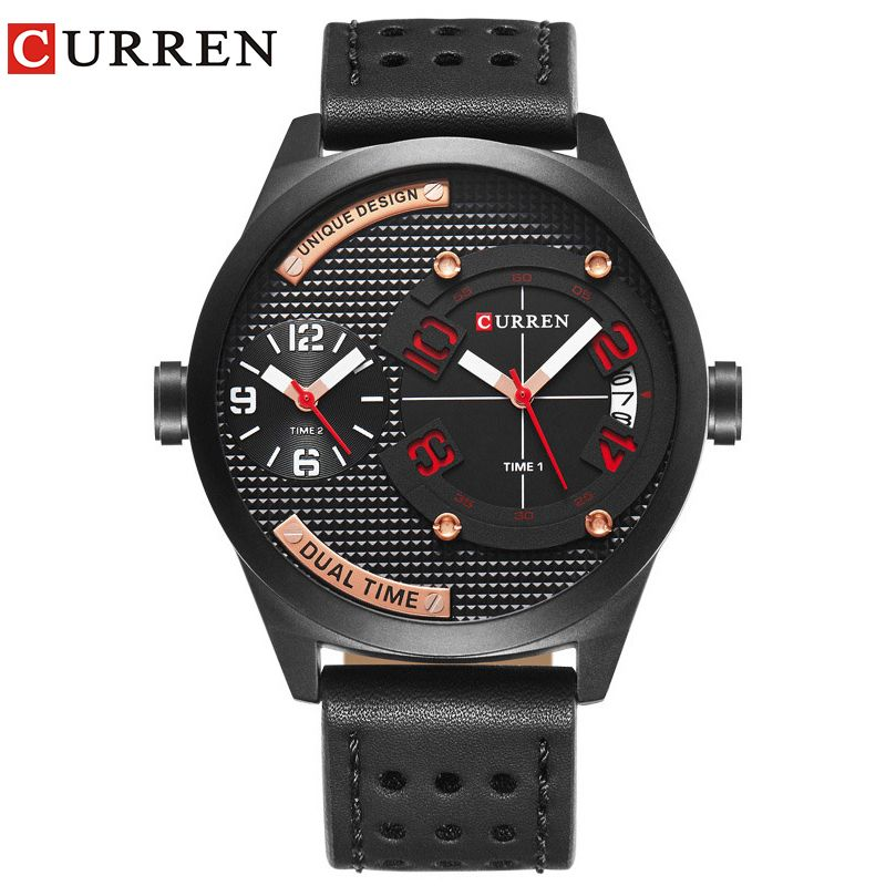 CURREN luxury brand 2017 New black leather Strap Fashion Casual <font><b>Business</b></font> 30 meter Waterproof Relogio Mascu Dual time zone 8252
