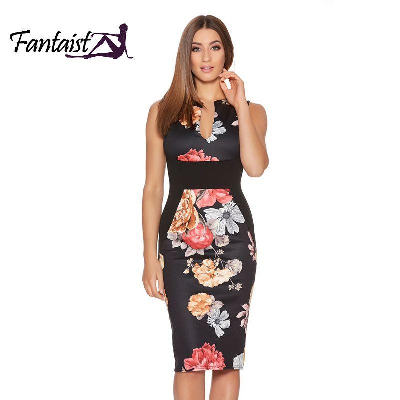 Fantaist femmes robes d'été Vestidos Vintage imprimé Floral Cocktail parti moulante robe crayon, 2017 nouveau travail porter des vêtements