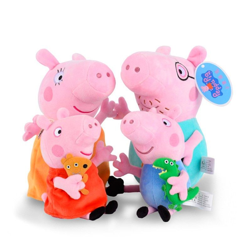 Original Brand 4Pcs/set Peppa Pig Stuffed Plush Toy 19/30cm Peppa George Pig Family Party Dolls Christmas New Year Gift For Girl