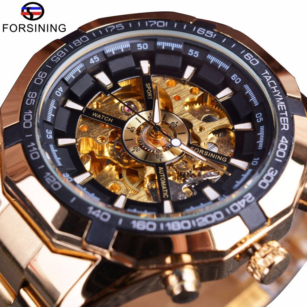 Forsining Mens Watches Top Brand Luxury Golden Men <font><b>Mechanical</b></font> Skeleton Watch Mens Sport Watch Designer Fashion Casual Clock Men