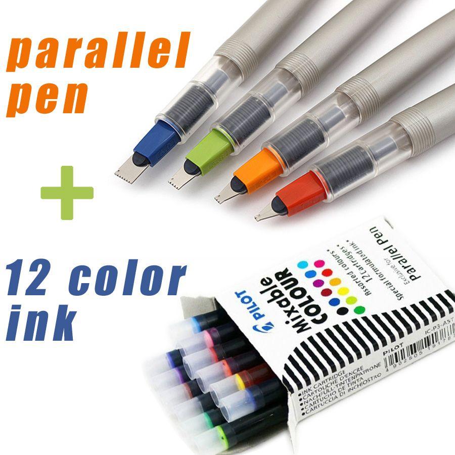 Pilote parallèle stylo art fontaine Gothique calligraphie Arabe avec 12 cartouches d'encre couleur 1.5 2.4 3.8 6.0mm Livraison Gratuite