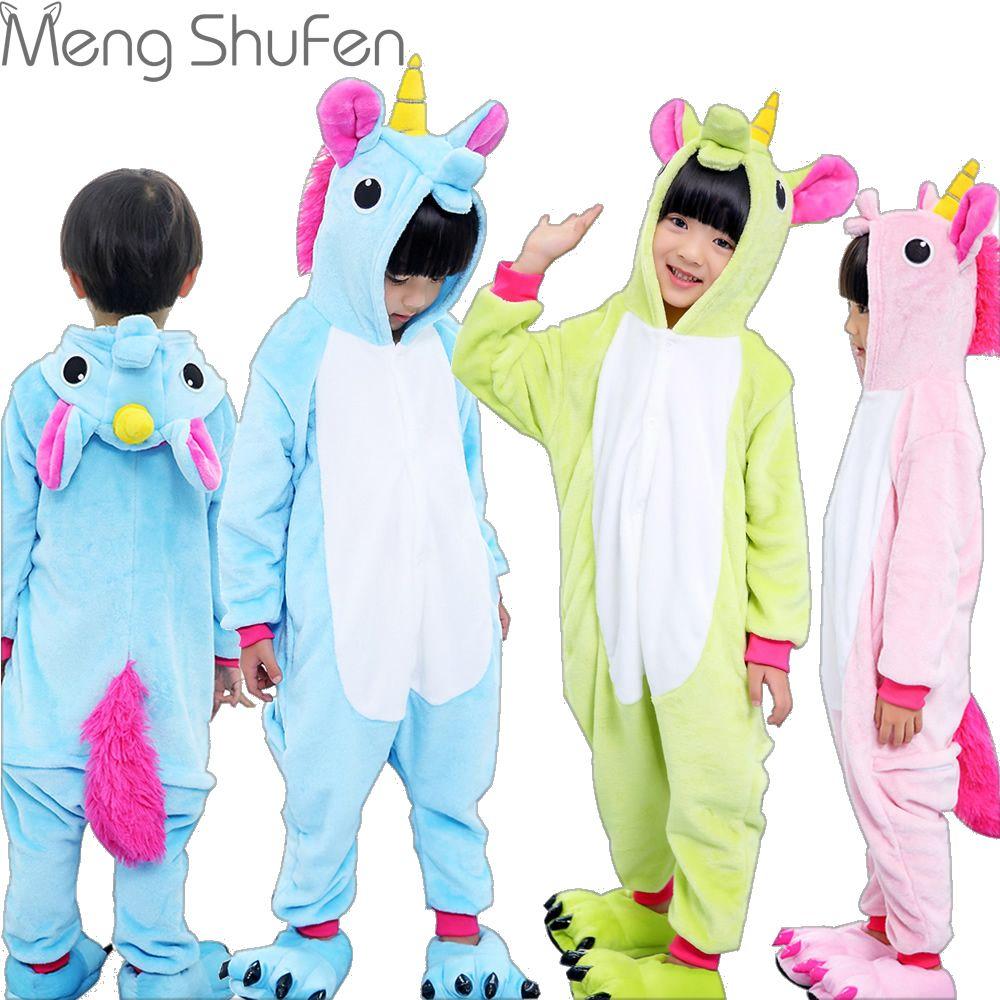 Girls Cute Unicorn Pajamas warm Autumn Winter Homewear unicornio Children's pajamas cartoon Animal pajamas for Kid boy Sleepwear