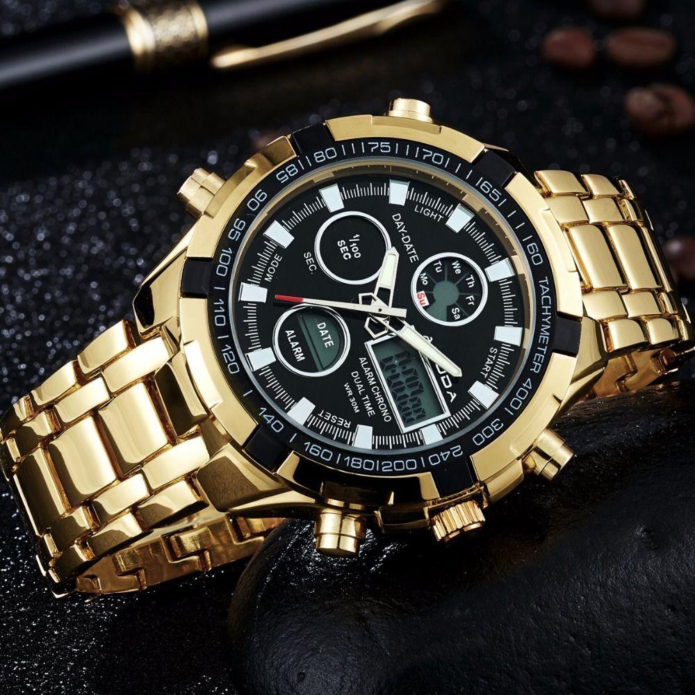 2018 Fashion Watches Men Luxury Brand AMUDA Gold Golden Watches Men <font><b>Sports</b></font> Quartz-watch Dual Time Relogio Masculino Esportivo