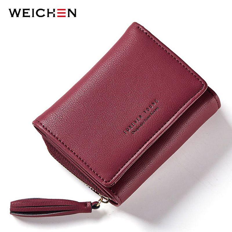 WEICHEN gland pendentif femmes portefeuilles avec fermeture à glissière Coin poche porte-carte marque dames sacs à main femme portefeuille petite marque Carteira