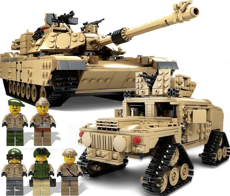 KAZI NEW 10000 Century Military M1A2 Abrams Tank Cannon Deformation hummer cars Building Free Shipping Blocks toys for children